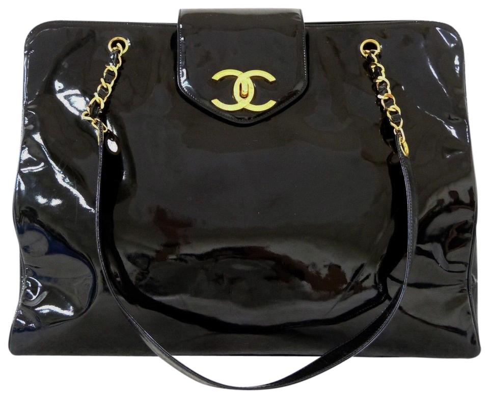 ae0d79ee9d21 Chanel Supermodel Vintage Shopper Luggage Tote Black Patent Leather  Weekend Travel Bag