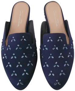 Oscar de la Renta Lovely Design Crystal Accented Comfortable Blue Mules