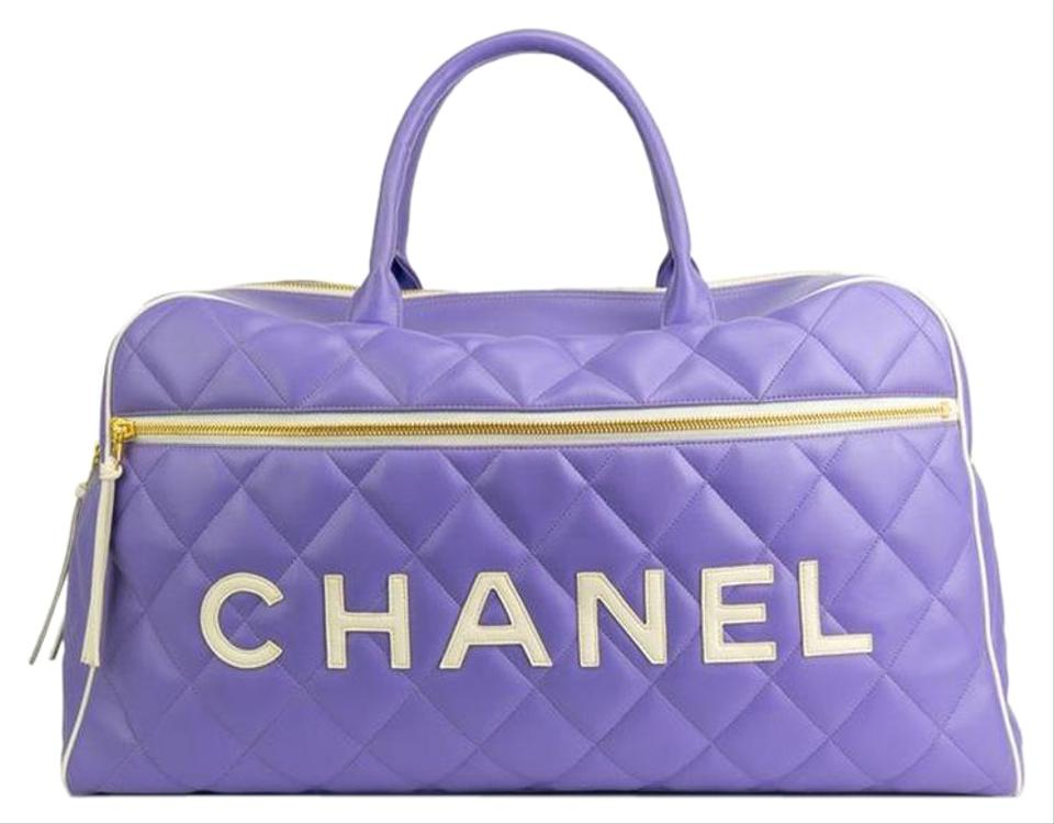 7f478b89cf Chanel Vintage Quilted Large Duffle Black Lilac Calfskin Leather  Weekend Travel Bag