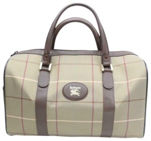 719327ea97d0 Burberry Mint Condition Canvas Leather Body Early Windowpane Or Tote  Satchel in greenish-khaki