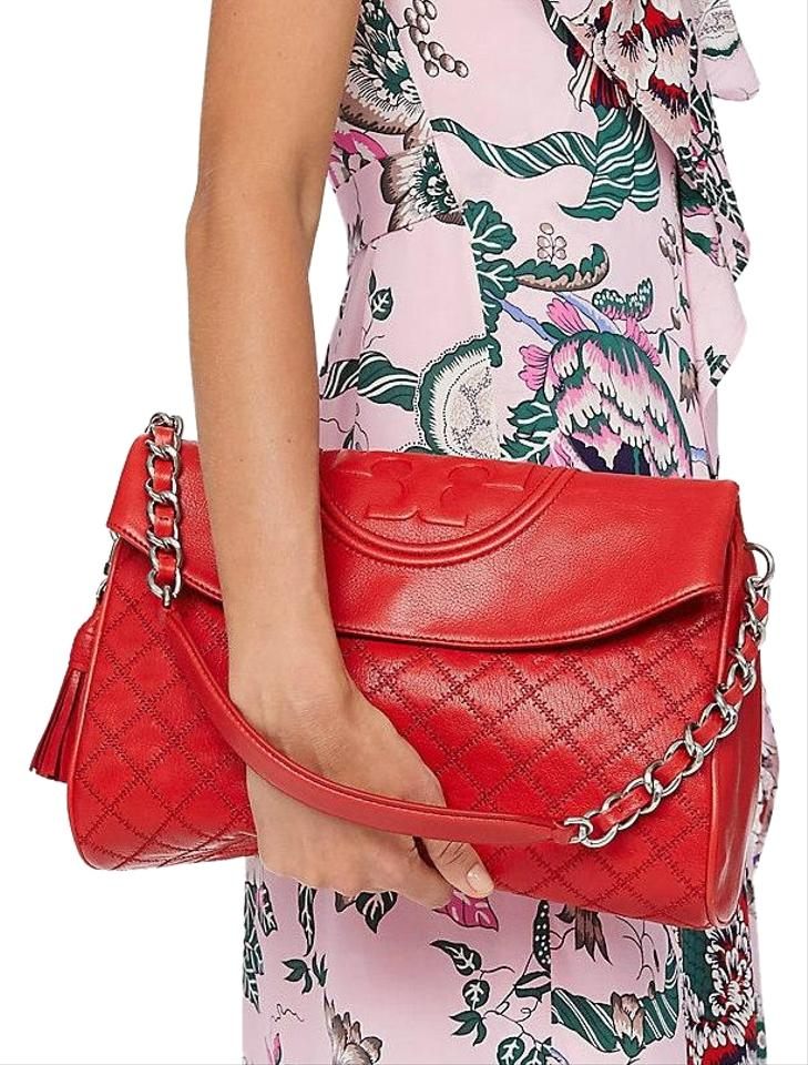cc35dd461d7 Tory Burch Fleming New Tassel Purse Quilted Fold Over Red Leather ...