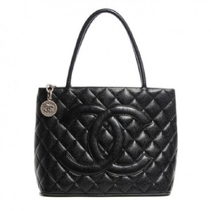 Chanel Medallion Vintage Lambskin Tote in Black