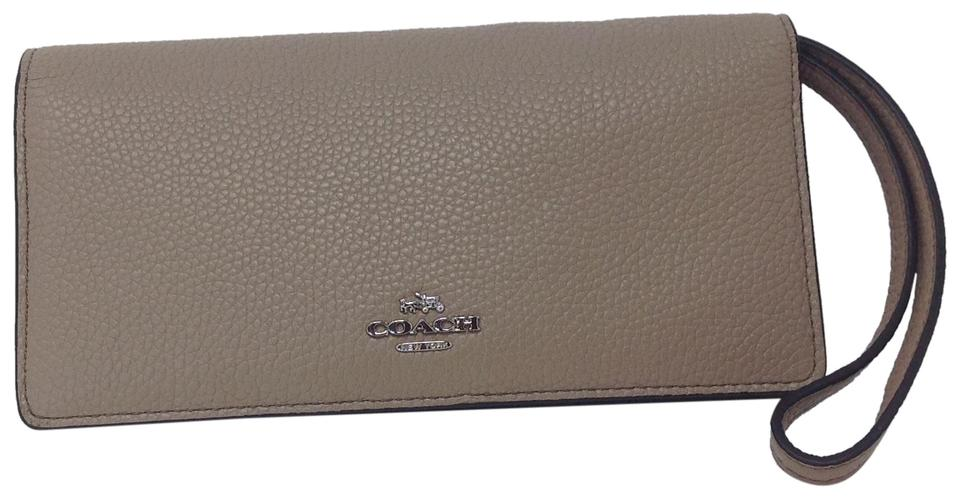 d09e19c2e5c9e Coach Coach Colorblock Slim Leather Wallet   Wristlet in Stone Beige Image  0 ...