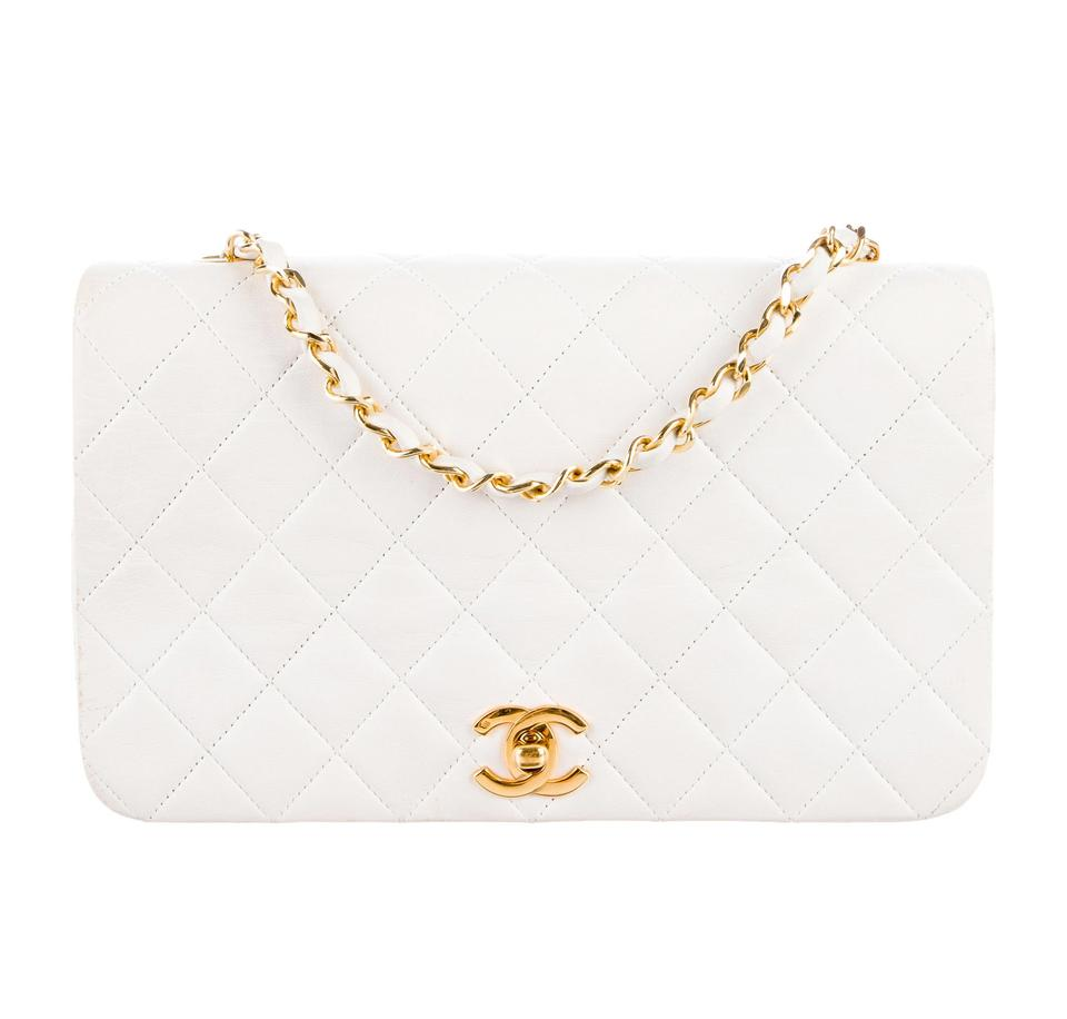 816a6eabc834bc Chanel Vintage Quilted Single Flap White Lambskin Leather Shoulder Bag