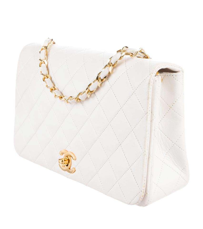 f893e081f4e09b Chanel Vintage Quilted Single Flap White Lambskin Leather Shoulder Bag -  Tradesy