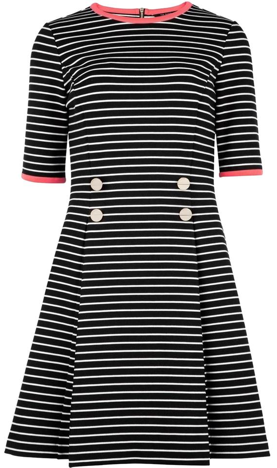 4c1f897990ae Ted Baker Black and White Alexina Elbow Striped Short Casual Dress ...