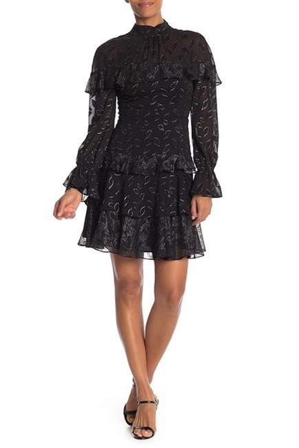 Item - Black/Silver Long Sleeve Woven Mid-length Cocktail Dress Size 8 (M)