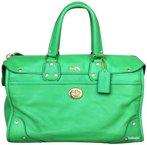 Coach Grain Leather Studs Leather Turnlock Convertible Satchel in Green