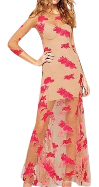 Item - Red and Beige Orchard Maxi Long Night Out Dress Size 4 (S)