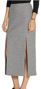 Wes Gordon Wool Flannel Double Slit Pencil Top Stitching Maxi Skirt Grey