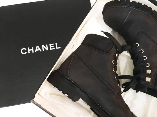 Chanel Hiking Combat Vintage Nero Black Boots