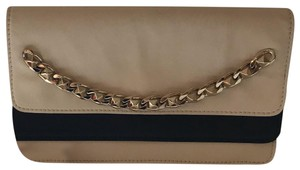 Valentino Leather Gold Hardware Two-tone White Clutch