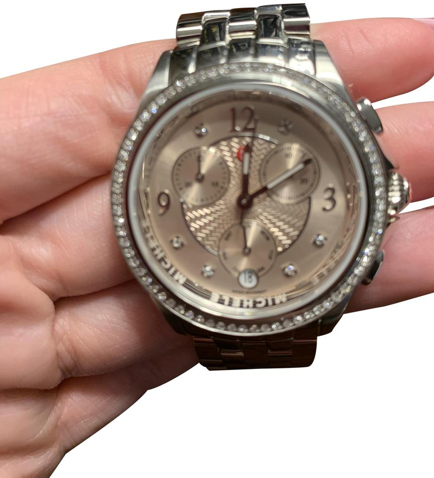 Michele Stainless Steel With Diamonds And Rose Gold Face Watch 61 Off Retail