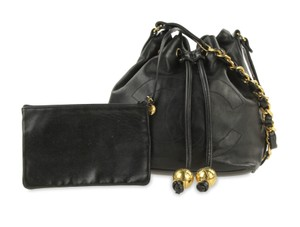 Chanel Vintage Bucket Lambskin Leather Shoulder Bag