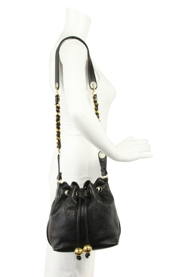 Chanel Vintage Bucket Lambskin Leather Shoulder Bag Image 11