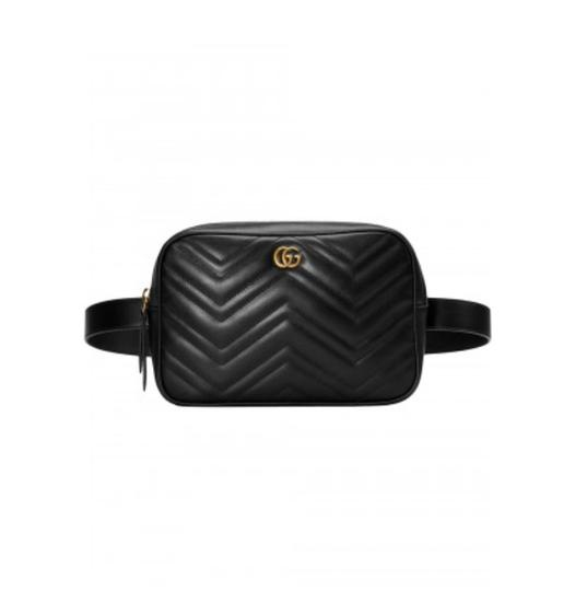 a9a93ce098c Gucci Marmont New Gg Belt Black Leather Cross Body Bag - Tradesy