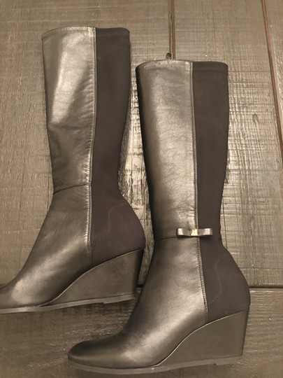 Kate Spade Wedge Leather Black Boots Image 2