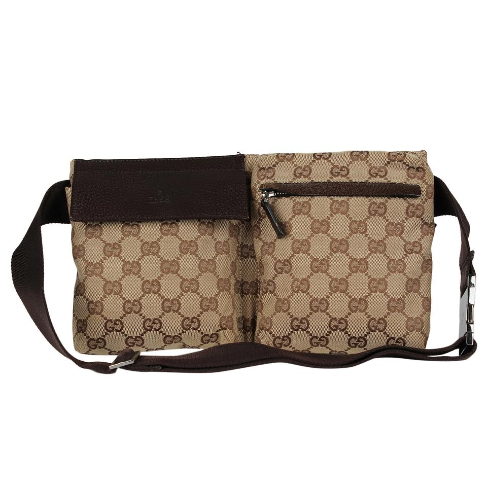 18a85faacf7 Gucci Monogram Waist Belt Canvas Classic Brown Travel Bag Image 0 ...