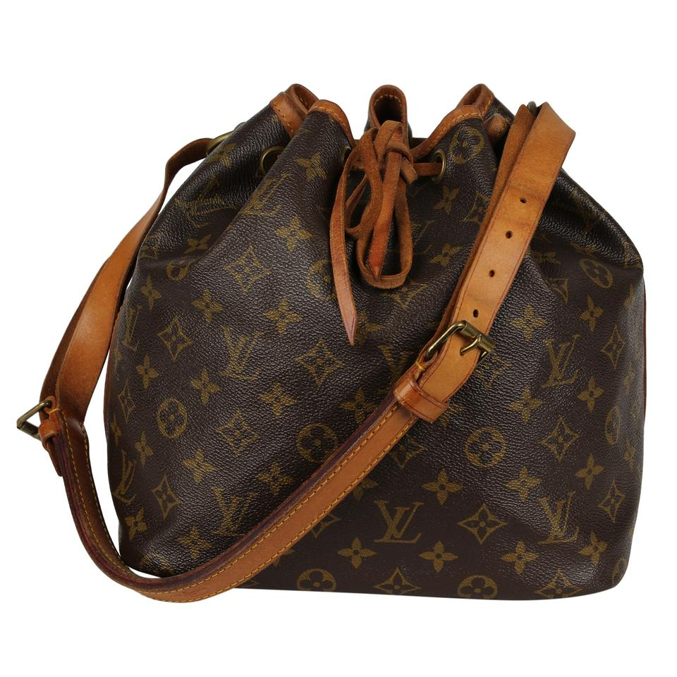 c1227089e Louis Vuitton Monogram Leather Petit Noe Canvas Noe Tote in Brown Image 0  ...