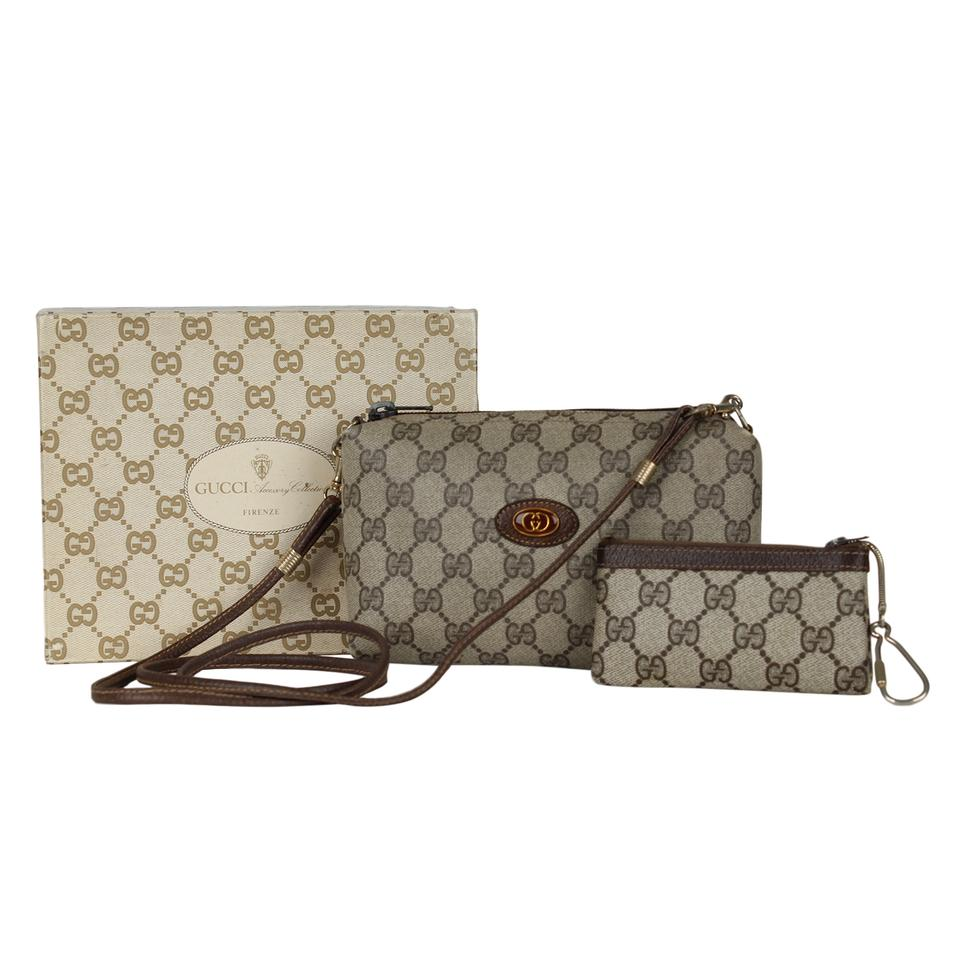 f1086ffad0dc09 Gucci Webby Shoulder Vintage Web Gg Logo Leather 7142 Brown Coated Canvas  Cross Body Bag