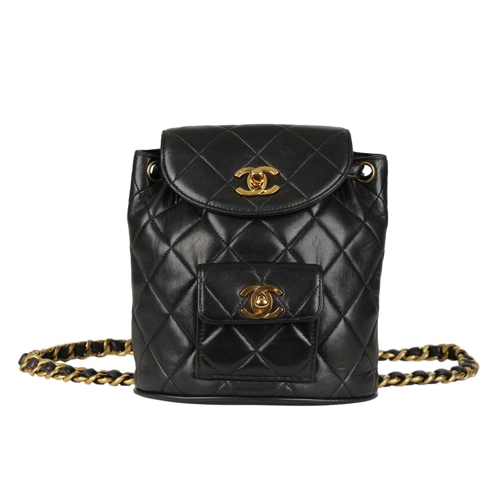 81d873222a23 Chanel Backpack Rare Quilted Vintage Mini Rucksack 7122 Black Lambskin Leather  Backpack