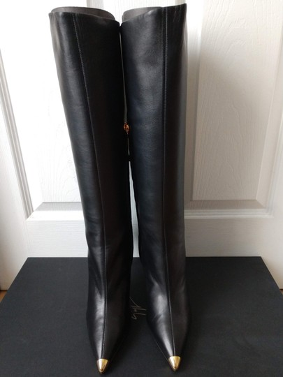 Giuseppe Zanotti Metal Cup Toe Stiletto Knee Height Black Boots Image 10