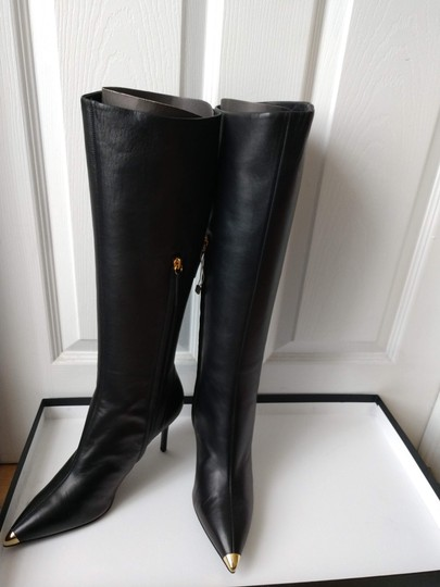Giuseppe Zanotti Metal Cup Toe Stiletto Knee Height Black Boots Image 4