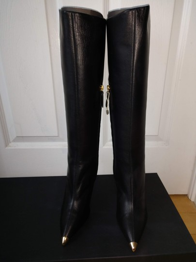 Giuseppe Zanotti Metal Cup Toe Stiletto Knee Height Black Boots Image 5