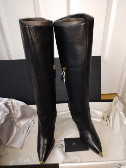 Giuseppe Zanotti Metal Cup Toe Stiletto Knee Height Black Boots Image 6