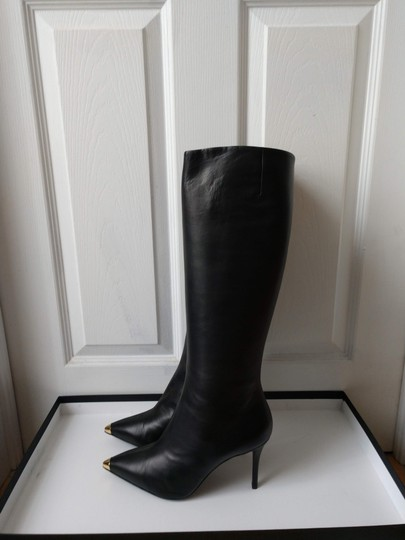 Giuseppe Zanotti Metal Cup Toe Stiletto Knee Height Black Boots Image 7