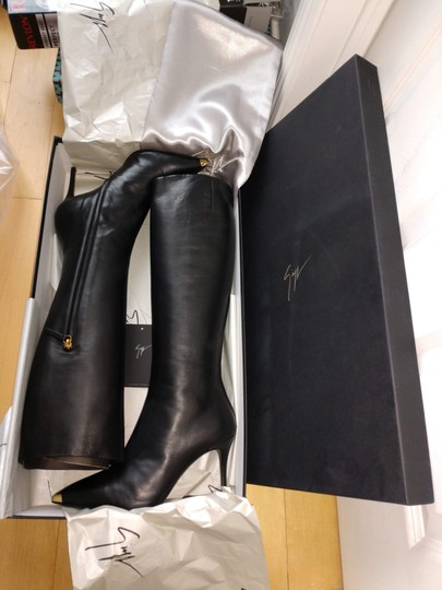 Giuseppe Zanotti Metal Cup Toe Stiletto Knee Height Black Boots Image 8