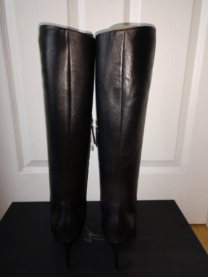 Giuseppe Zanotti Metal Cup Toe Stiletto Knee Height Black Boots Image 9