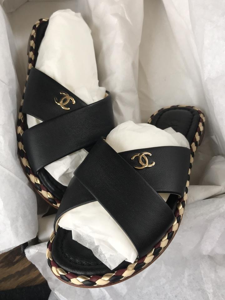 0d46e7998bd0 Chanel Black Spa Mules Slides Leather Braided Flats 35c Sandals Size EU 35 ( Approx. US 5) Wide (C