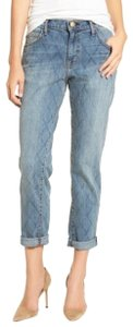 Current/Elliott Quilted Denim Cropped Relaxed Fit Jeans-Medium Wash
