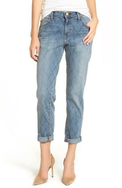 Current/Elliott Quilted Denim Cropped Relaxed Fit Jeans-Medium Wash Image 6