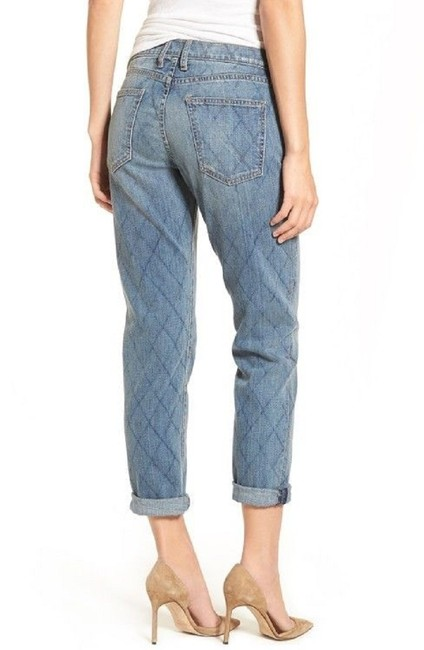 Current/Elliott Quilted Denim Cropped Relaxed Fit Jeans-Medium Wash Image 7