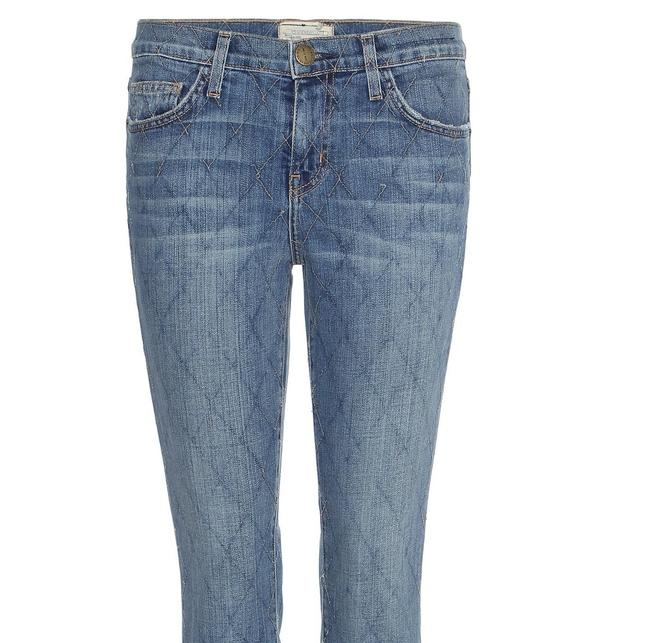 Current/Elliott Quilted Denim Cropped Relaxed Fit Jeans-Medium Wash Image 8
