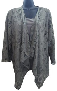 Chico's Army Lace Cascading Spring Fall Top Green
