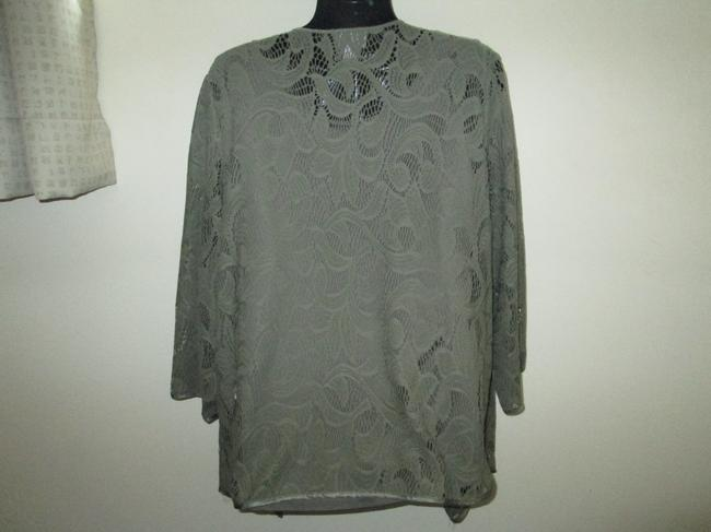 Chico's Army Lace Cascading Spring Fall Top Green Image 2