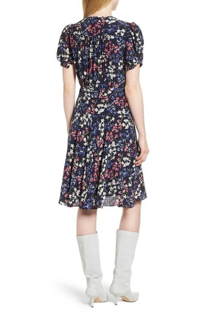 Navy Maxi Dress by Lewit Floral Silk Midi Short Sleeve Image 1