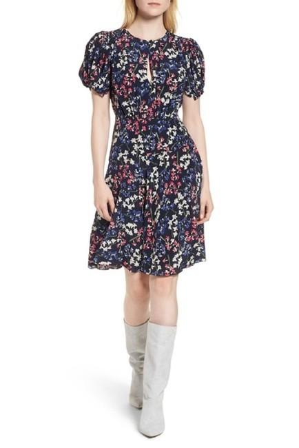Navy Maxi Dress by Lewit Floral Silk Midi Short Sleeve Image 2