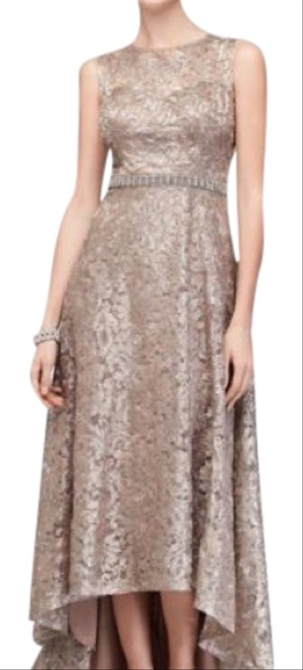 4a330d08d98e7 Ignite Evenings by Carol Lin Taupe Sequined Lace High Low Prom/Evening  Formal Dress