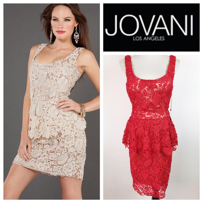 Item - Red Peplum Scoop Back Beaded Lace Short Cocktail Dress Size 8 (M)