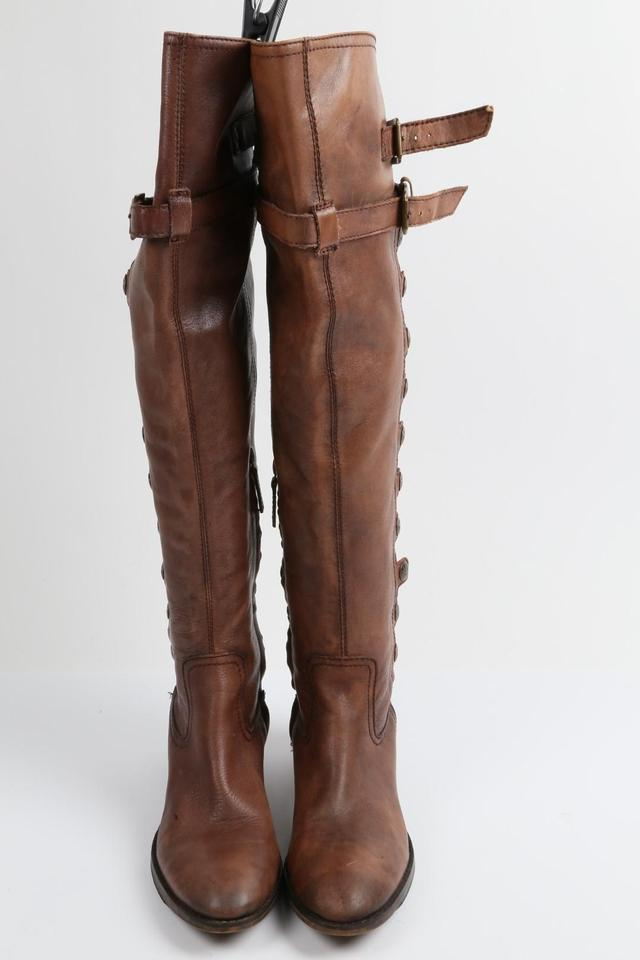 add7f6f78eb Sam Edelman Brown S- Pierce Leather Over The Knee Button Boots ...