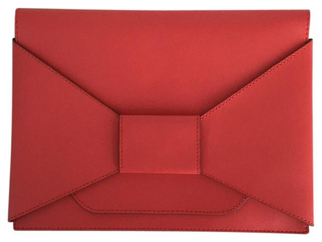Item - Envelope In Excellent Condition Coral Red Leather Clutch