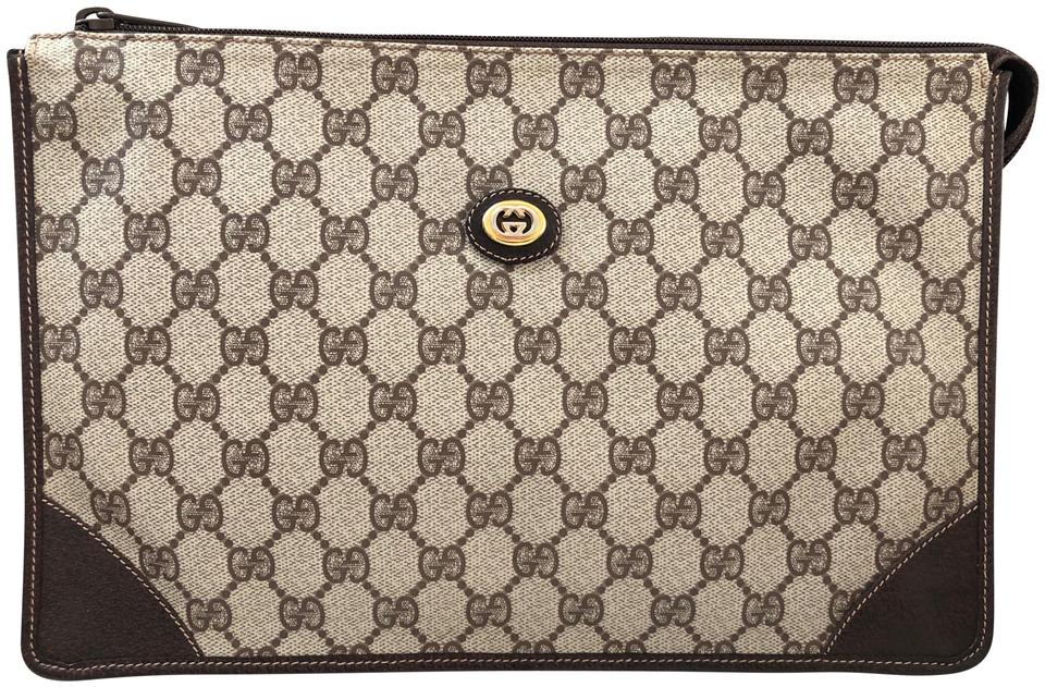 8196fc7b578 Gucci Accessory Collection Canvas Leather Supreme Monogram Brown Clutch  Image 0 ...