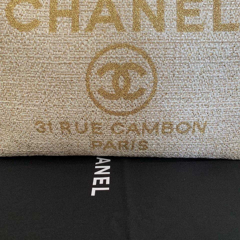b3b9c847de45 Chanel Deauville Gold Ivory Boucle Gst Grand Shopping Beige Tweed Tote -  Tradesy