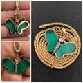 14KT ITALY 14KT Yellow Gold Malachite & Diamond Butterfly Pendant & Chain Necklace Image 1