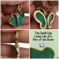 14KT ITALY 14KT Yellow Gold Malachite & Diamond Butterfly Pendant & Chain Necklace Image 2