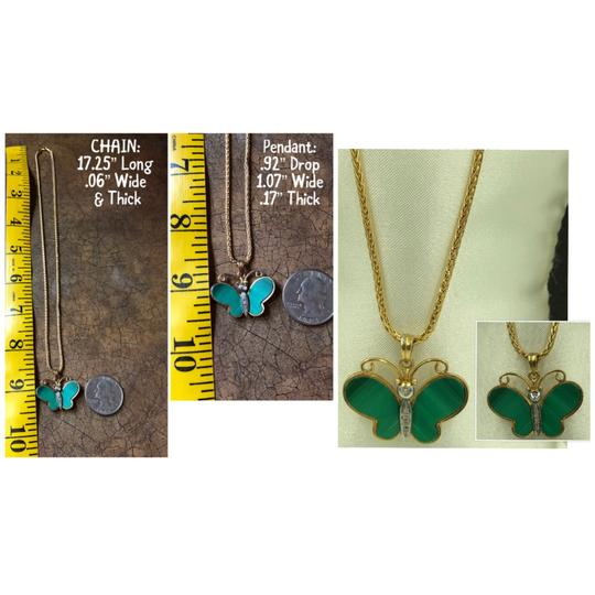14KT ITALY 14KT Yellow Gold Malachite & Diamond Butterfly Pendant & Chain Necklace Image 3
